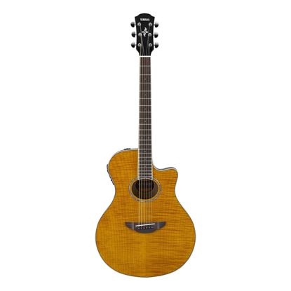 Yamaha APX600 Thinline Acoustic Guitar with Pickup & Flamed Maple Top in Amber - Front