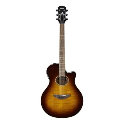 Yamaha APX600 Thinline Acoustic Guitar with Pickup & Flamed Maple Top in Tobacco Brown Sunburst - Front