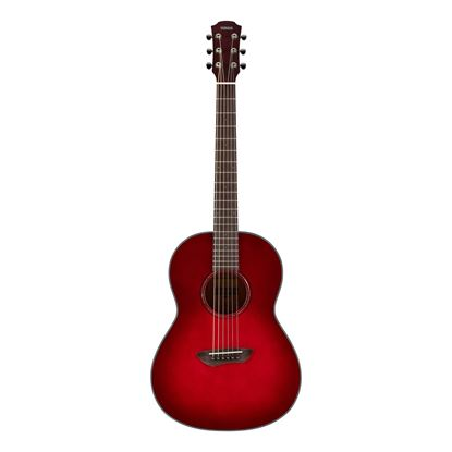 Yamaha CSF1M Travel Acoustic Guitar with Bag in Crimson Red Burst - Angle