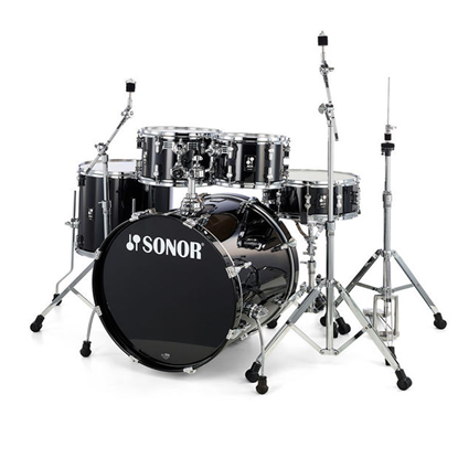 Sonor AQ1 Stage Series 5-Piece Drum Set in Piano Black with Hardware