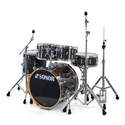 Sonor AQ1 Stage Series 5-Piece Drum Set in Wood Grain Black with Hardware