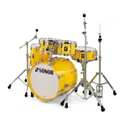 Sonor AQ1 Stage Series 5-Piece Drum Set in Yellow Gloss Lacquer with Hardware