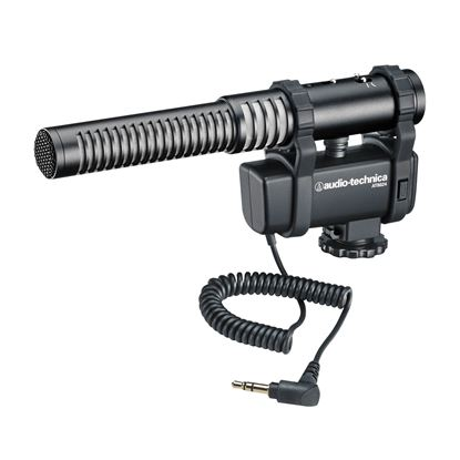 Audio Technica AT8024 Stereo/Mono Camera-Mount Mic with Foam & Fuzzy Windscreens
