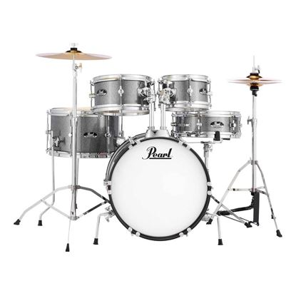 Pearl RSJ465C/C-708 Roadshow Junior 5-Piece Drum Kit with 16in Bass Drum, Hardware & Cymbals in Grindstone Sparkle