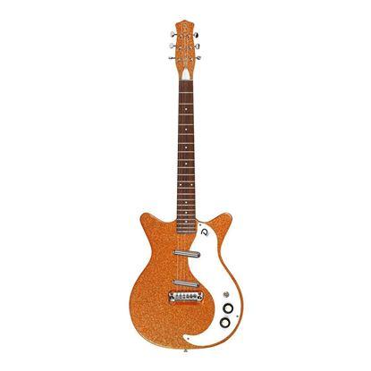 Danelectro 59M NOS+ Electric Guitar in Orange M-Flake - Front