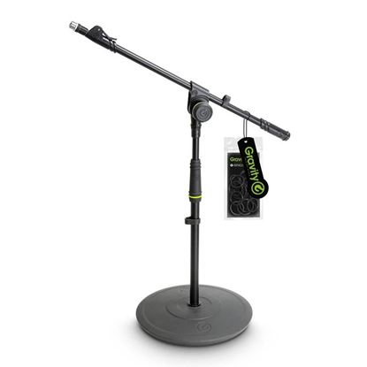 Gravity GMS2212B Round Base Short Microphone Stand with Telescopic Boom