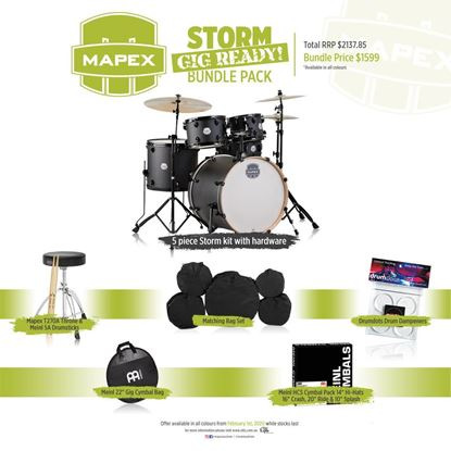 Mapex Storm Rock 5-Piece Drum Kit - Black with Black Hardware
