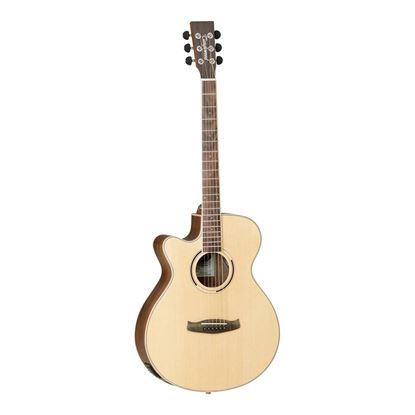 Tanglewood TDBTSFCEBWLH Discovery Exotic Left Hand Superfolk Acoustic Guitar in Black Walnut - Front