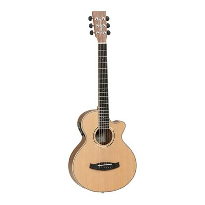 Tanglewood TDBTTCEBW Discovery Exotic Traveller Super Folk Acoustic Guitar with Pickup in Black