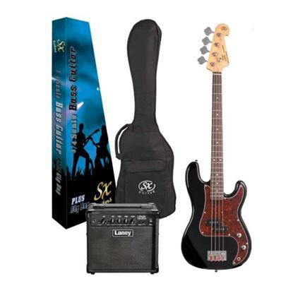 SX Essex & Laney Left Hand 3/4 Bass Guitar Pack in Black (VEP34LHB Bass & Laney Bass Amp)