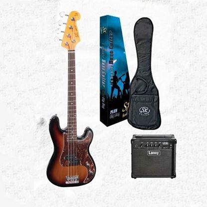 SX Essex & Laney 3/4 Bass Guitar Pack in 2 Tone Sunburst (VEP34TS Bass & Laney Bass Amp)