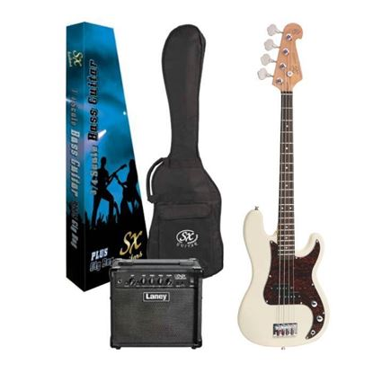 SX Essex & Laney 3/4 Bass Guitar Pack in Vintage White (VEP34VWH Bass & Laney LX10B Bass Amp)