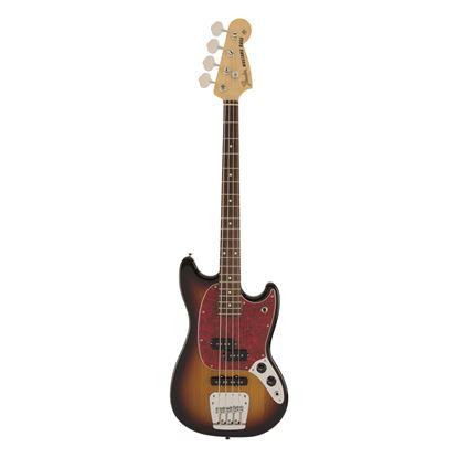 Fender MIJ Hybrid Mustang Bass Guitar with Rosewood Fingerboard in 3-Color Sunburst - Front