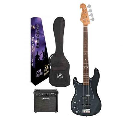 SX Essex & Laney Left Hand 4/4 Bass Guitar Pack in Black (VEP34LHB Bass & Laney Bass Amp)