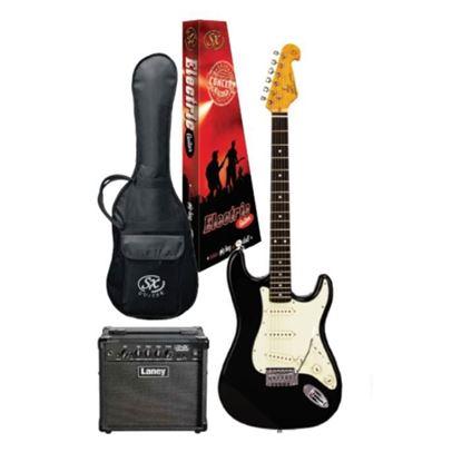 SX Essex & Laney Electric Guitar Pack in Black (VES62B Electric Guitar & Laney Amp)