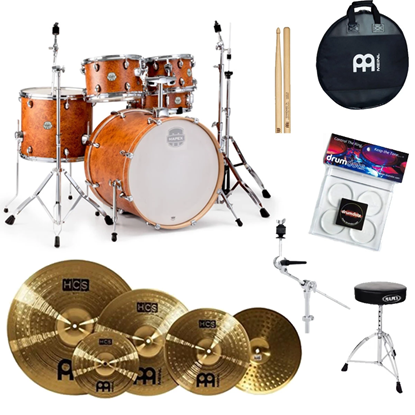 Mapex Storm 5 Piece Drum Kit with 22 inch Kick and Chrome Hardware Camphor Wood Grain Front