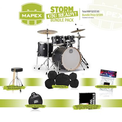 Mapex Storm Rock 5-Piece Drum Kit with 22 inch Kick - Ebony Blue Grain