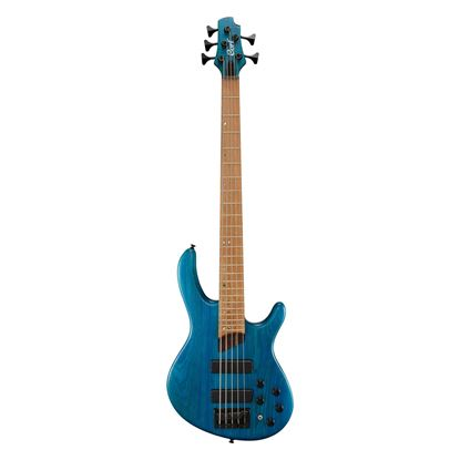 Cort B5 Plus 5-String Bass Guitar in Open Pore Aqua Blue - Front