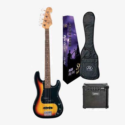 SX Essex & Laney 4/4 Bass Guitar Pack in 2 Tone Sunburst (VEP34TS Bass & Laney Bass Amp)