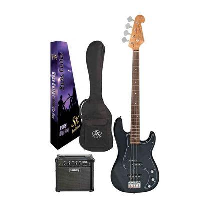 SX Essex & Laney 4/4 Bass Guitar Pack in Black (VEP34B Bass & Laney LX10B Bass Amp)