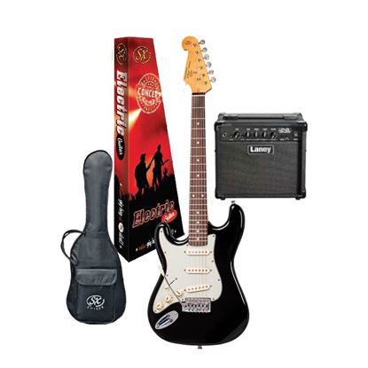 SX Essex & Laney Left Hand Electric Guitar Pack in Black (VES62LHB Electric Guitar & Laney Amp)