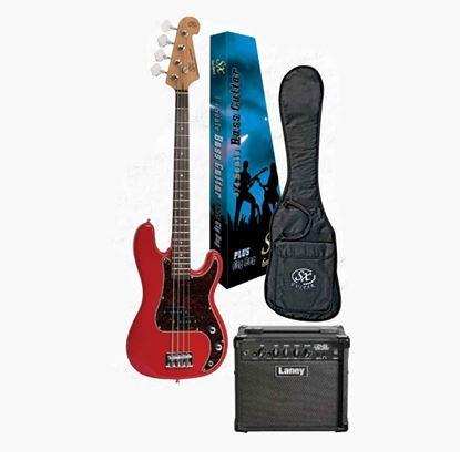 SX Essex & Laney 3/4 Bass Guitar Pack in Fiesta Red (VEP34FR Bass & Laney Bass Amp)