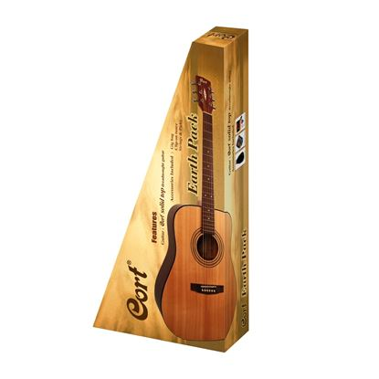 Cort Earth Pack Dreadnought Acoustic Guitar Pack wth Gig Bag, Tuner, Picks & Strings