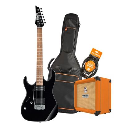 Ibanez RX22 Left Handed Electric Guitar Starter Pack in Black with Orange Crush 12, Armour Bag & GS10 Lead